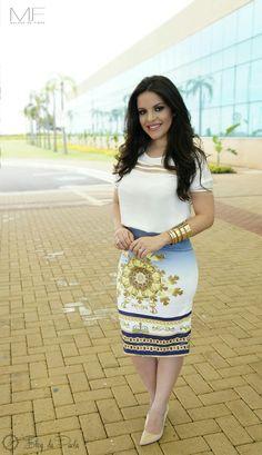 Look do Dia: Blusa e Saia Lápis Paola Santana da Mulher de Fibra | Blog da Paola