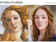 """Venus from Botticelli's famous """"The Birth of Venus"""", painted during the height of the Italian Renaissance, by Becca Saladin (royalty_now_/Instagram) Forensic Facial Reconstruction, Famous Historical Figures, Famous Portraits, The Birth Of Venus, Making Faces, Old Art, Belle Epoque, Happy Valentines Day, Painting & Drawing"""