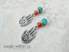 Hamsa Earrings / Hand of Fatima Earrings by BeginWithinJewelry on #etsy  | SAVE 10% now with coupon code: PIN444 | #hamsa #handoffatima #buddhist #spiritual #earrings #jewelry