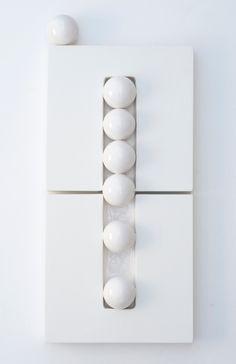 Elizabeth Orleans, Ball Series 2, 2014, Glazed Ceramics, wood panel and paint, 10 x 22 inches, SOLD. http://www.bridgettemayergallery.com/exhibitions/2014-benefit-exhibition-for-ballet-x