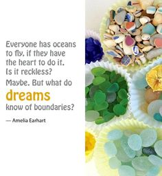 Ocean Quote by Amelia Earhart from the Book Of Love and Sea Glass. Featured on Beach Bliss Living: http://beachblissliving.com/coffee-table-books/