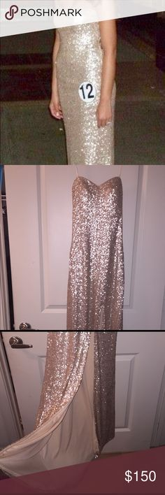 La Femme Pageant or Prom Gown Beautiful gold sequin prom or pageant gown by La Femme. Size 2 originally altered to fit a size 0 or 2. La Femme Dresses Prom