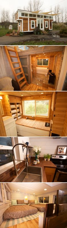 The tiny 344-square-foot sanctuary features a large bathroom that turns into a sauna, giving the owner a spa-like retreat where she can relax.