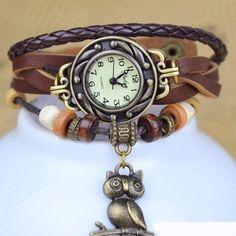 Wickelarmbanduhr Leder braun, Armbanduhr Eule von kunst-ecke auf DaWanda.com
