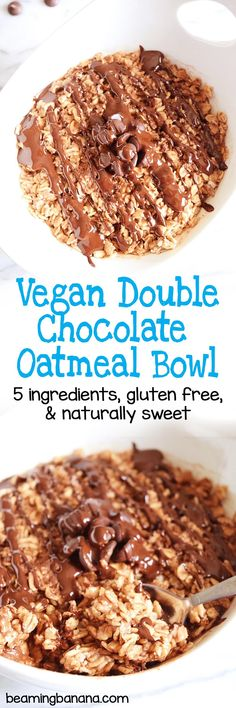 This vegan double chocolate oatmeal bowl is rich, sweet, and full of powerful chocolate flavor! Made with just a few healthy ingredients, gluten free and naturally sweetened.