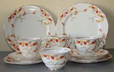 Royal Stafford  Bone China Tea Set for two, Honesty pattern  #CupsSaucersandplates