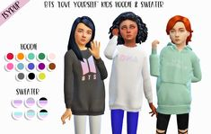 """"""" ♡ BTS """"Love Yourself"""" Kids Sweater & Hoodie ♡ hello everyone! id like to present u my first ever custom content for the sims 4 which is a recolour of two tops ! since my kings bts' comeback is v near & it has me extremely excited i. Mods Sims 4, Sims 4 Game Mods, Sims 4 Toddler Clothes, Sims 4 Cc Kids Clothing, Sims Four, Sims 4 Mm Cc, The Sims 4 Cabelos, Sims 4 Children, Sims 4 Cc Shoes"""