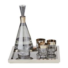 Shop the Carlos Modern Classic Smoke Glass Silver Band Drinking Glasses - Short - Set of 4 and other Bar Accessories at Kathy Kuo Home Classic Home Decor, Classic House, Modern Classic, Iron Accessories, Colored Glass Bottles, Home Repair, Glass Design, Glass Art, Clear Glass