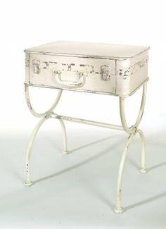 valigia tavolo, metallo, 50x61x35 cm bianco anticato