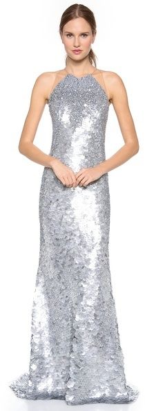 Kaufman franco Fish Scales Sleeveless Gown