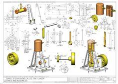Risultati immagini per mini steam engine blueprints Mechanical Design, Mechanical Engineering, Mechanical Art, Diy Cnc, Compressed Air Engine, Mini Steam Engine, Stirling Engine, Autodesk Inventor, Small Engine