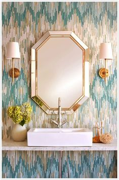 turquoise gold and silver ikat wallpaper bathroom