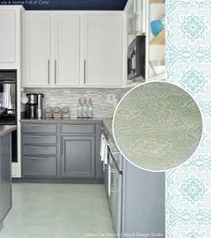 Refurbish an old linoleum tile floor with paint and a pretty tile stencil. Lisboa Tile from Royal Design Studio