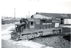 A Penn Central GP-40 sits outside the roundhouse on April 6, 1969. From Scott collection.