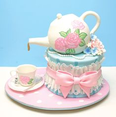 Stunning Birthday Cake with a fondant tea pot & tea cup - Created by Renata of Lovely Cakes