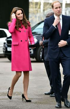 The Duchess of Cambridge looked radiant in £1,500 Mulberry coat as she and Prince William visited the Stephen Lawrence Centre on her last engagement before maternity leave