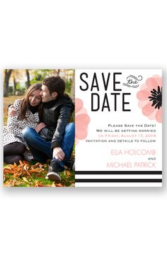 Mod Blooms Photo Save the Date by David's Bridal | Follow us and start pinning pretty paper options - from invitations and save the dates to programs and table numbers - for a chance to win $1,000 to InvitationsbyDavidsBridal.com. Enter here: http://sweeps.piqora.com/rsvpready