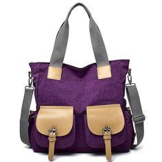 Women Simple Oxford Tote Bag Hitcolor Crossbody Bag Shoulder Bag