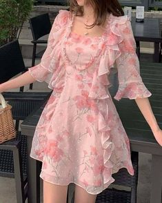 Girly Outfits, Pretty Outfits, Pretty Dresses, Beautiful Dresses, Girls Party Outfits, Stylish Dresses, Casual Dresses, Short Dresses, Kawaii Fashion