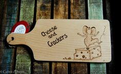 Wooden Chopping Board Cheese & Crackers by ArtisticDesignCrafts
