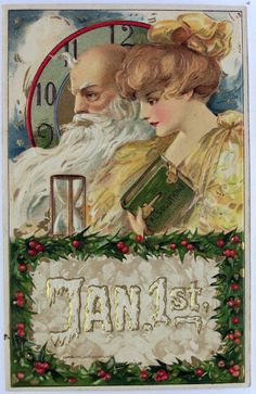 Father Time & Baby New Year Postcards Christmas And New Year, Vintage Christmas, Victorian Christmas, Christmas Bells, Christmas Art, Christmas Decorations, Holiday Decor, Vintage Happy New Year, Baby New Year