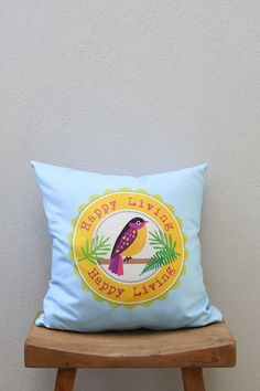 Bird Illustration Decorative Pillow, Light Blue colored Throw Pillow, Living Room Decorative Cushion