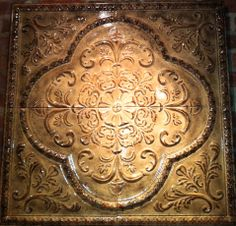 Decorating with Tin Ceiling Tiles Old World Decorating, Tuscan Decorating, Decorating Ideas, Decor Ideas, Old World Style, Old World Charm, Spanish Home Decor, Textile Sculpture, Tin Ceiling Tiles