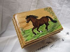 Oak  Wooden Jewelry box hand painted with a bay horse running in a field. by TrailRider on Etsy