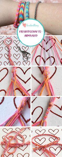 Diese süßen Freundschaftsbänder sind ideal für Kinder und lassen sich schnell aus bunter Wolle flechten - eine super Gelegenheit für große und kleine Freun