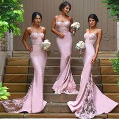 Sweetheart Bridesmaid Dresses with Lace Appliques, Pink Lace Bridesmaid Gowns with Sweep Train, Latest Mermaid Bridesmaid Dress, #01012822
