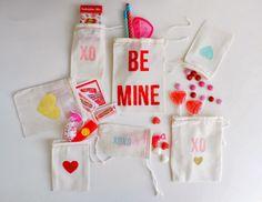 a pretty cool life.: diy: colorful freezer paper stencil valentine treat bags