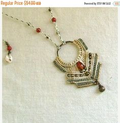 FiNaL sALe Serenity - Micro macrame necklace natural neutral color with carnelian beads and bronze dangle - tagt team