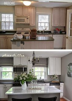 4 Powerful Clever Tips: Farmhouse Kitchen Remodel House Tours kitchen remodel layout double oven.Kitchen Remodel Tips House kitchen remodel layout islands. Kitchen Redo, New Kitchen, Kitchen Dining, Kitchen Cabinets, White Cabinets, Island Kitchen, Kitchen Countertops, 1960s Kitchen, Narrow Kitchen