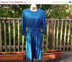 Vintage 80s Karin Stevens Blue Cheetah Print Dress