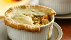Thanksgiving Pot-Pie! Turkey and Sweet Potato Pot-Pie. Use fresh cubed sweet potato, Progresso Chicken Pot Pie Soup LITE, add Sage seasoning for that Thanksgiving taste - Can also top with light bisquit biscuits instead of pie crust to cut down on calories. Make in ramekins for mini pot-pies and top with one biscuit = perfect!