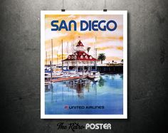 1950s San Diego - United Airlines Vintage Travel Tourism Poster // High Quality Fine Art Reproduction Giclée Print by TheRetroPoster on Etsy
