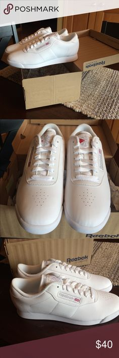 Women's reebok princess shoes, size 7, brand new! Women's white princess reebok tennis shoes, brand new in box, size 7. I bought them for my mom and they didn't fit her. Originally priced at $50 I am asking $38, our loss is your gain! Reebok Shoes Sneakers