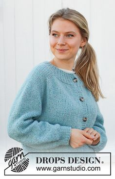Jumper Patterns, Cardigan Pattern, Knitting Patterns Free, Knit Patterns, Free Knitting, Free Pattern, Drops Design, Laine Drops, Knit Dishcloth