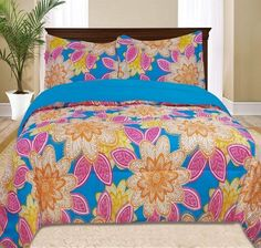 Kids Girls Bedding- Bellvue Comforter Set Multi Color Transform your child's bedroom into a tropical paradise with this fun colorful bedding that features bold Girls Comforter Sets, Kids Comforters, Kids Bedding Sets, Teen Bedding, Kids Sheets, Colorful Bedding, Floral Comforter, Kids Canopy, Kid Beds