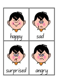 28 x Emotions Vocabulary Cards  PDF file7 page, printable teacher's resource.These cards will be appropriate for any early childhood setting.Help children identify and discuss a range of emotions appropriate for young children.You may like to print two pages to one, using your printer settings, to make smaller cards.Each card includes a picture and text e.g.