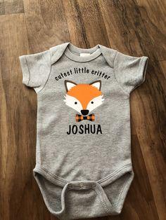 141cfe6d2135 Woodland theme baby boy. Fox baby boy. Woodland baby shower. Cutest little  critter. Personalized baby boy gift. Baby boy. Boy baby shower
