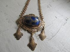 Antique Art Deco Blue GlassTassel Necklace by LUXXORVintage, $178.00