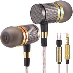 Gold In-Ear Earphone Headphone With Mic ON OFF Switch For iPhone iPod MP3 HTC