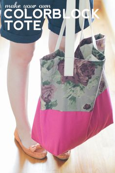 DIY Colorblock Tote. Maybe I've finally found a use for the thick, curtain-like material I have in a green floral.