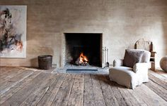 Old wood floor, plaster wall. Art.