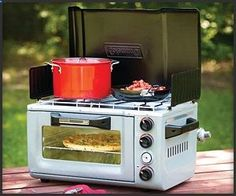 Coleman Outdoor Oven Stove: gotta have it for your treehouse or RV camping! Coleman Outdoor Oven Stove: gotta have it for your treehouse or RV camping! Camping Glamping, Camping Stove, Camping Life, Camping Hacks, Luxury Camping, Camping Supplies, Camping Kitchen, Camping Cooking, Camping Essentials