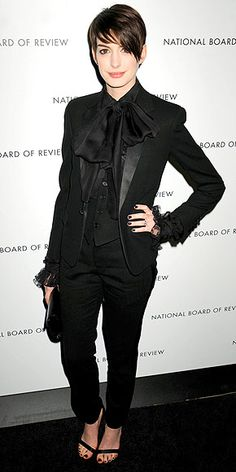 ANNE HATHAWAY photo -menswear. I just love her. The short hair, the tux, the giant teeth and eyes. Love it.