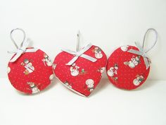Fabric Christmas Ornaments, Red Fabric with Snowman, Silver Accents, Holiday Decor, Tree Ornaments Set Of 3