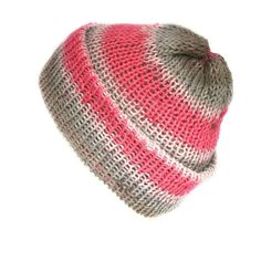 Pink and grey cotton beanie, handmade with soft cotton yarn, can be worn as a slouchy beanie or knitted skull cap, one size beanie 90s Grunge, Grunge Style, Soft Grunge, Funky Fashion, Hipster Fashion, Hipster Style, Grunge Fashion, Grunge Accessories, Handmade Accessories
