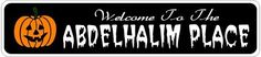 ABDELHALIM PLACE Lastname Halloween Sign - Welcome to Scary Decor, Autumn, Aluminum - 4 x 18 Inches by The Lizton Sign Shop. $12.99. 4 x 18 Inches. Great Gift Idea. Predrillied for Hanging. Rounded Corners. Aluminum Brand New Sign. ABDELHALIM PLACE Lastname Halloween Sign - Welcome to Scary Decor, Autumn, Aluminum 4 x 18 Inches - Aluminum personalized brand new sign for your Autumn and Halloween Decor. Made of aluminum and high quality lettering and graphics. Made to last...